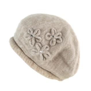 Angorkowa czapka-beret Violet