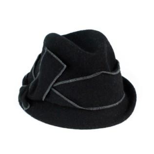 Wełniany kapelusz z asymetryczną kokardą