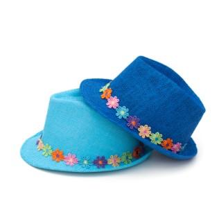 Kapelusz dziewczęcy trilby i kolorowe kwiatki
