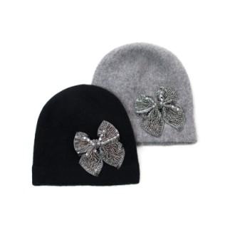 Wełniana czapka Lśniąca kokarda