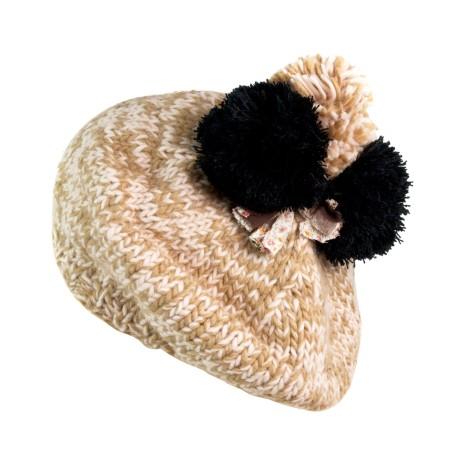 Melanżowe czapki z trzema pomponikami