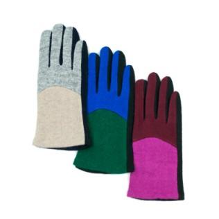 Dwukolorowe rękawiczki z wełny parzonej