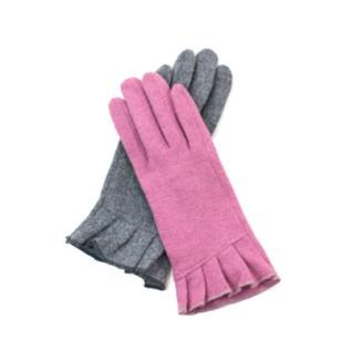 Rękawiczki wełniane z falbanką