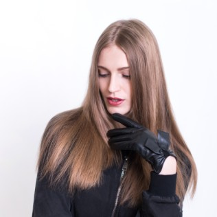 Rękawiczki skórzane Zmysłowa kokarda